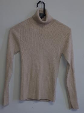 Cashmere Beige Pullover Polo neck