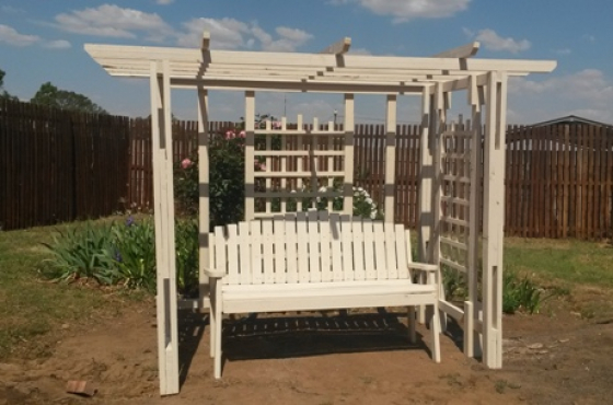 Love seat trellis and Bench