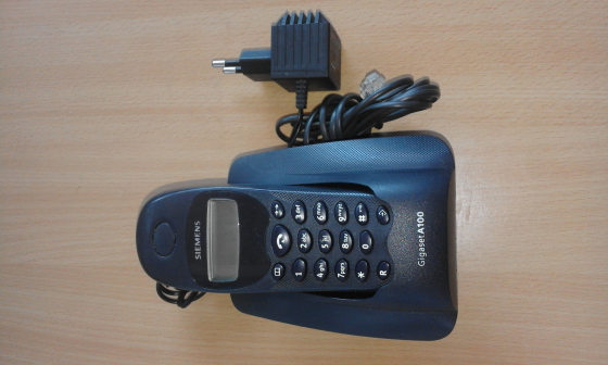 Siemens gigaset portable phone . Uses fixed line. Base, charger and wireless portable handset