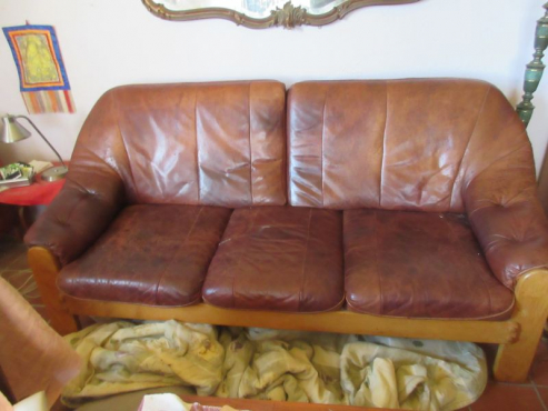 Danish leather and wood 3 seater couch