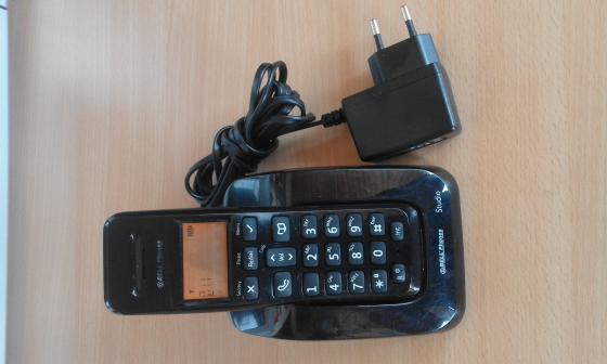 Bell Studio portable phone . Uses fixed line. Base, charger and wireless portable handset