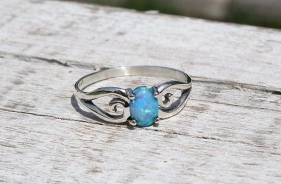 Elegant and feminine Blue opal Sterling Silver ring for sale