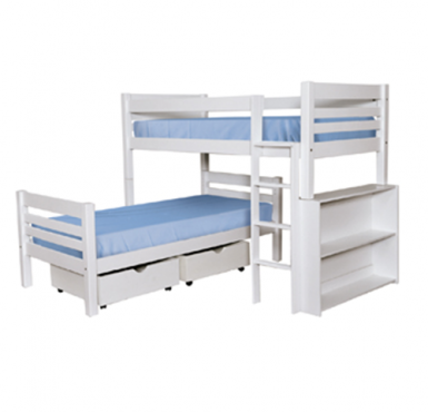 L Shape Pine Bunk Beds - New