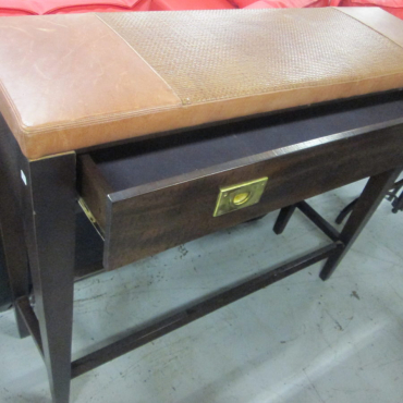 Brown Leather Server with Drawer