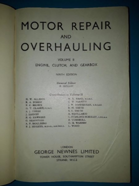 Motor Repair And Overhauling - Volume II - Newnes.