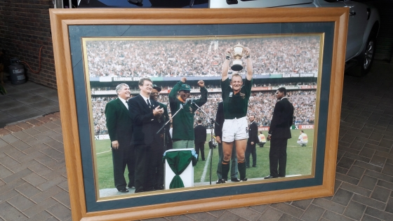 Sports memorabilia. Rugby World Cup and CAF cup winning pictures