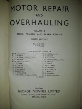 Motor Repair And Overhauling - Volume III - Newnes.