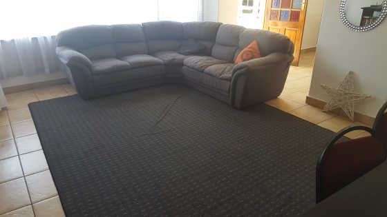 L shaped couch with matching curtain and carpet