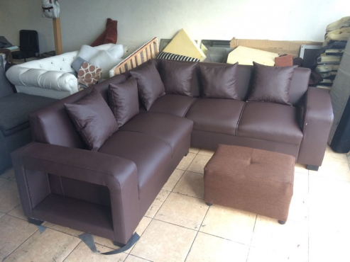new dark brown leather couch