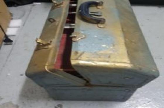 Grey steel tool box