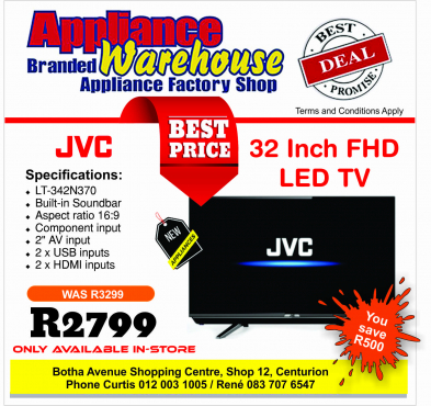 JVC Curve TVs - 40 and 32 - LOWEST PRICES!
