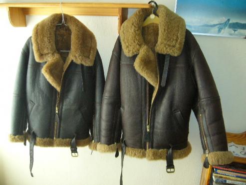 Genuine Irvin leather,sheepskin lined open motoring jackets.