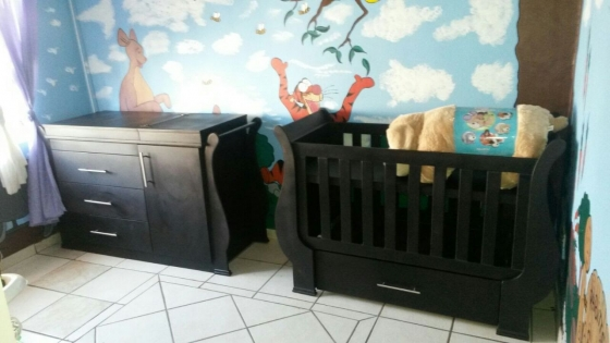 Sleigh Design Baby Cot & Compactum-(SUR16), used for sale  North Coast