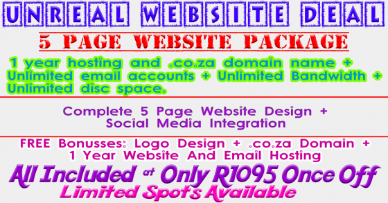 5 Page Website Special Offer Package - 1 Year Hosting Included