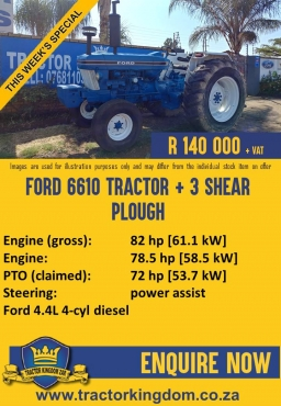 Ford 6610 Second Hand Tractor + 3 Shear Plough