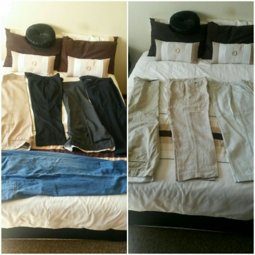 7 pairs formal pants +1 jeans ranging sizes from 32 - 40.
