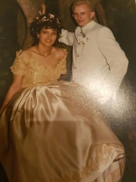 Golden,Beautiful Silk Italian design,2 Piece wedding Dress