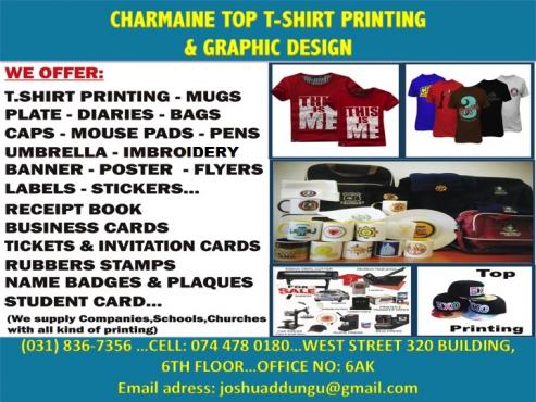 Charmaine top t shirt printing banners mugs caps rubber for Rubber stamp t shirt printing