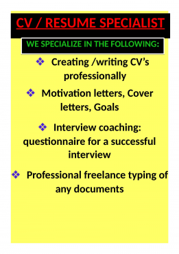 CV'S / RESUMES DONE PROFESSIONALLY in a flash!! contact us today