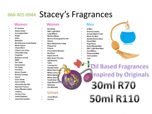Oil based fragrances inspired by originals