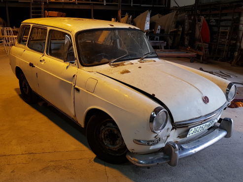 Two Volkswagen Type 3 Squareback project vehicles.