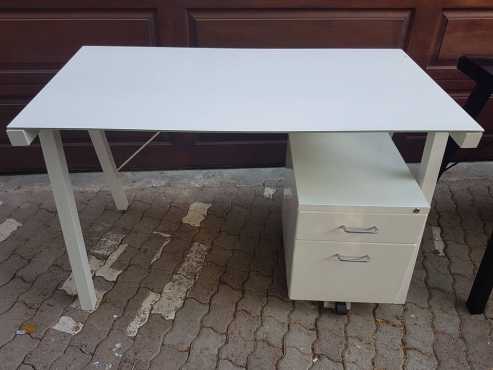 Lovely desk with glass top and matching small cupboard