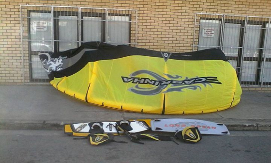 Cabrinha kiteboard 12 with 2 boards+ 2 harnesses+strings+bags+pump