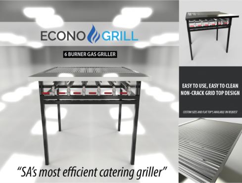 LP gas Econo-Grill products, grills, chip fryers