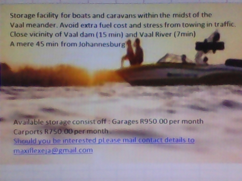 Boat storage available within the Vaal meander