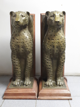 Royal Egyptian Cheetahs Sculptures used as table bases