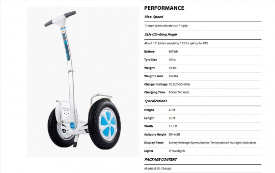 Airwheel S3 and Airwheel S5 reduced to clear (similar to segway)