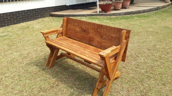 Garden Bench folding open into table