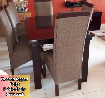 Beige brown dining chairs