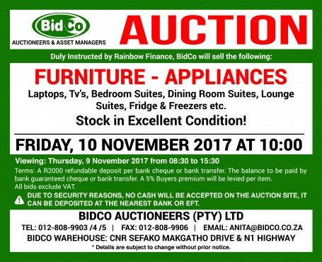 10 November 2017 - Bidco Auctioneers - Auction