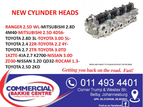 cylinder heads new for bakkies
