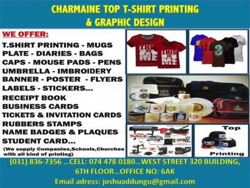 Charmaine top print t shirts banners mugs capes stamps