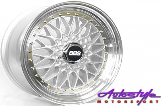 17 BBS Mesh Silver with Gold Studs 4/100 & 4/114