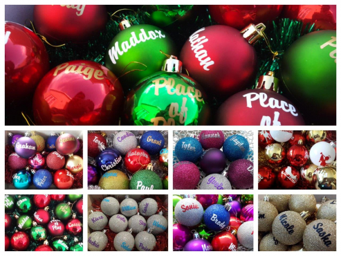 Personalised Christmas Baubles a great idea for your staff gifts & year end function...