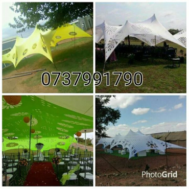 Non waterproof Cheese Stretch tents for sale With Aluminum Poles and Pegs