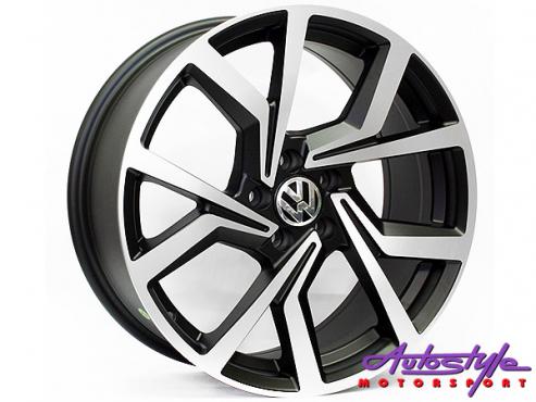 18 BK5125 5/112 Matt Black Machine Polish Wheels