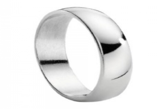 9CT SOLID WHITE GOLD 4MM HALF ROUND 'D-SHAPED' WEDDING BAND