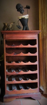 Teak wine rack and matching coffee table for sale