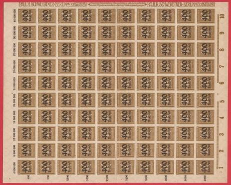 Germany 1923 SG309/MI300 400T / 40M bistre Value- R2500. Full sheet Zig Zag perf. Varieties possible