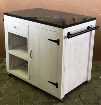 Kitchen Island Cottage Elegant series 1100 with door and drawer White washed