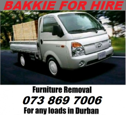 BAKKIE FOR HIRE in KZN / Durban - QUICK Deliveries Done URGENTLY