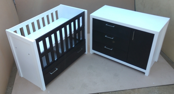 Furniture Depot 2 Colour Baby Cot and Compactum