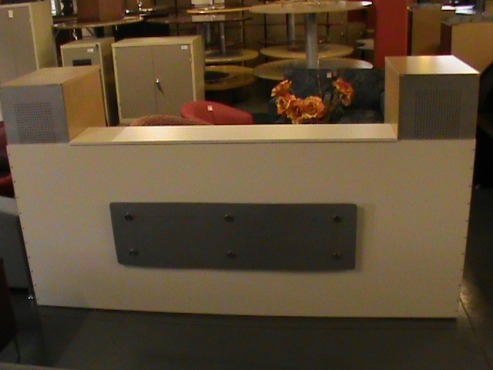 Beech wood white melamine reception counter