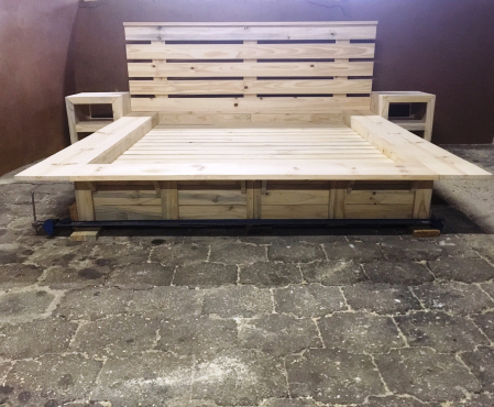 Box bed with headboard Cottage Elegant series Queen size Combo Raw