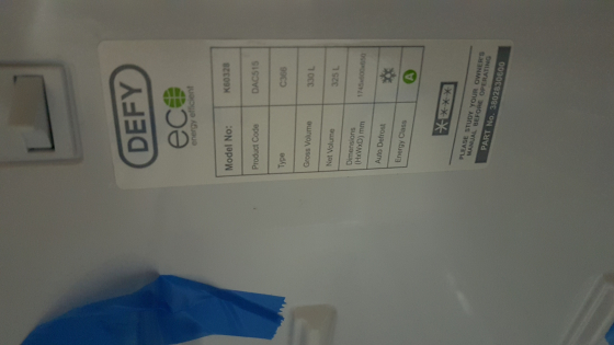 defy fridge combi 365l new with warranty