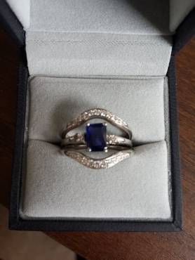 1 x Sapphire engagement ring and 2 x weddings bands